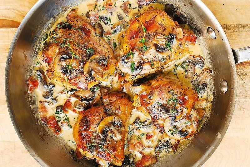 pollo en salsa de champiñones