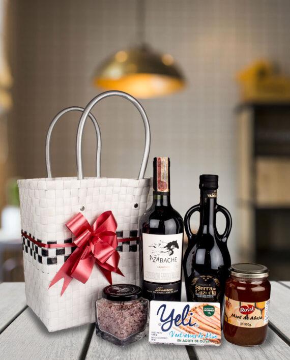 ancheta premium vinzeta con cesta blanca vino y aceite