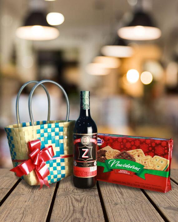ancheta navideña con vino y galletas mas cesto decorado